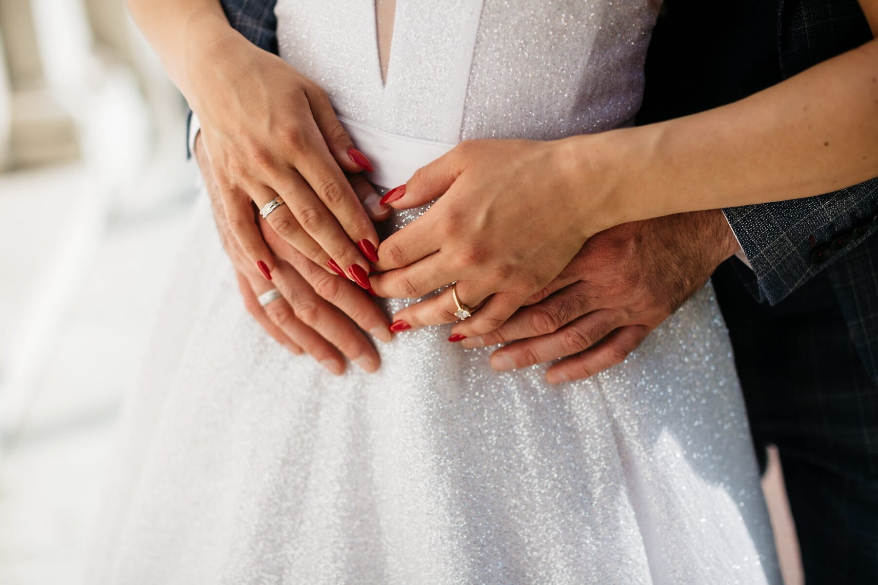 wedding dress, wedding ring, newlyweds, holding hands, finger, touch, nail polish, rings, woman, man