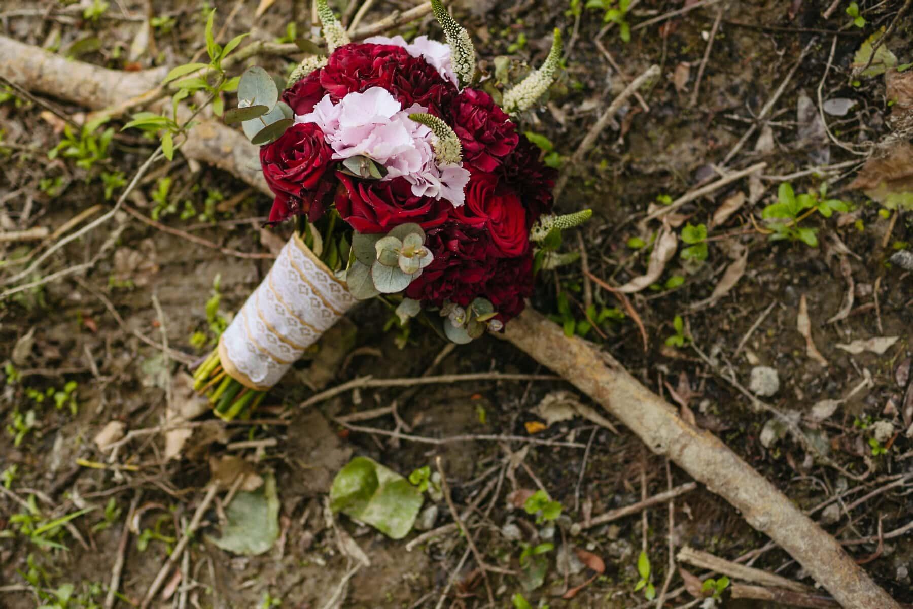 wedding bouquet, pinkish, red, pastel, roses, leaf, flower, nature, flora, rose