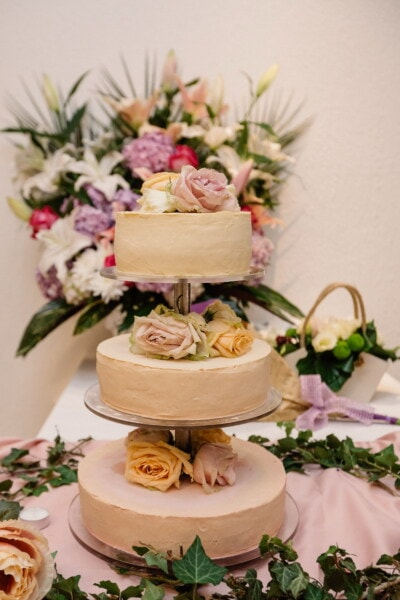 wedding cake, decoration, arrangement, wedding, reception, interior design, love, flower, rose, elegant