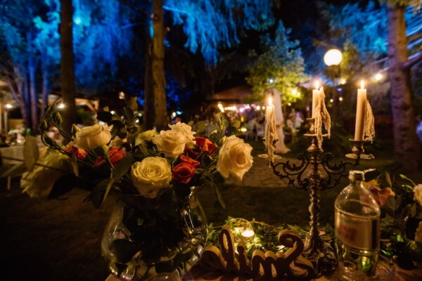 dinner table, evening, candles, candlelight, bouquet, candlestick, backyard, garden, candle, celebration
