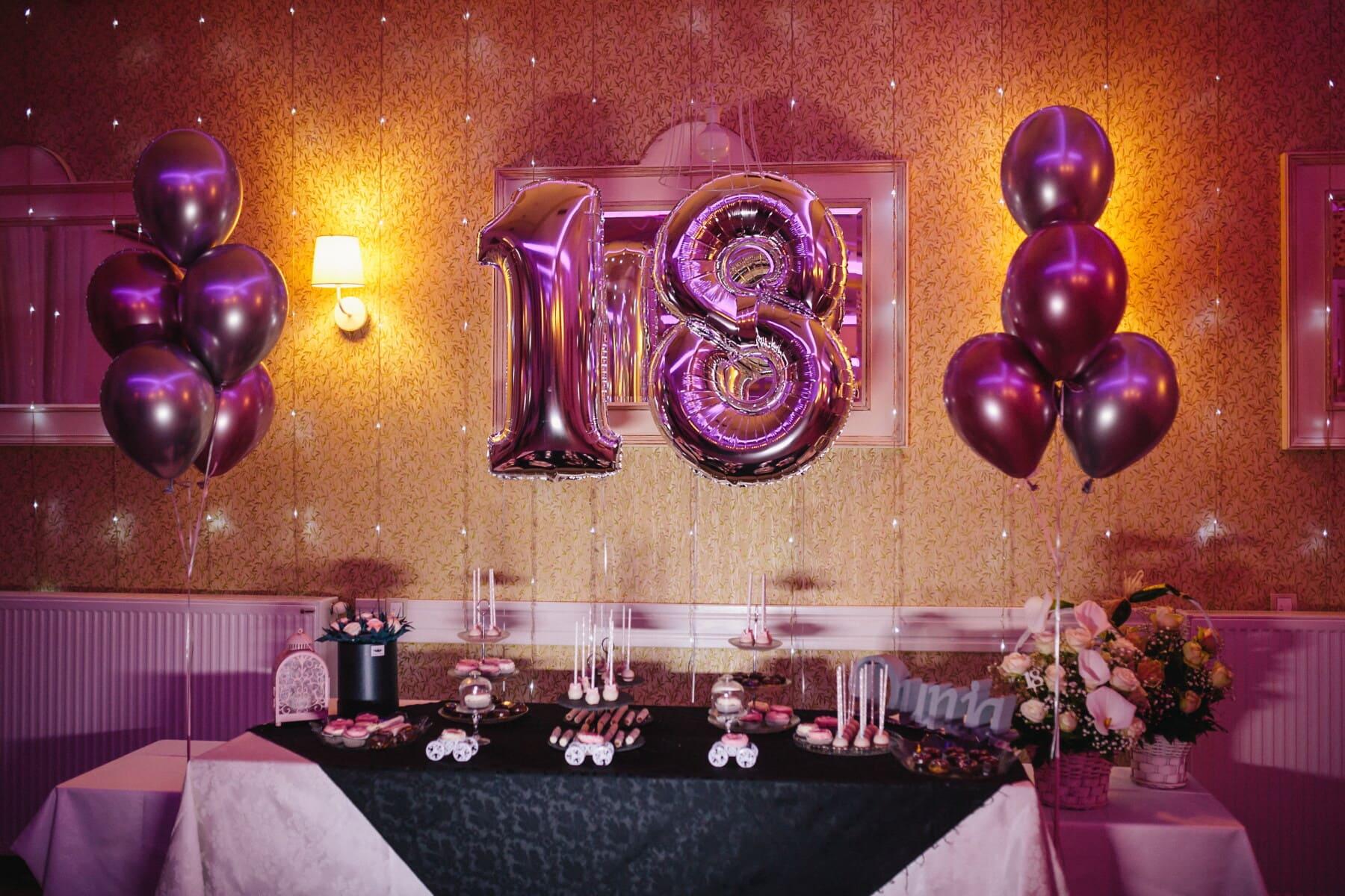 helium, balloon, 18 birthday, fancy, pinkish, teenage, decoration, party, interior design, light