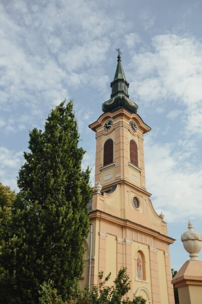 church tower, tall, style, baroque, architecture, building, church, tower, covering, religion