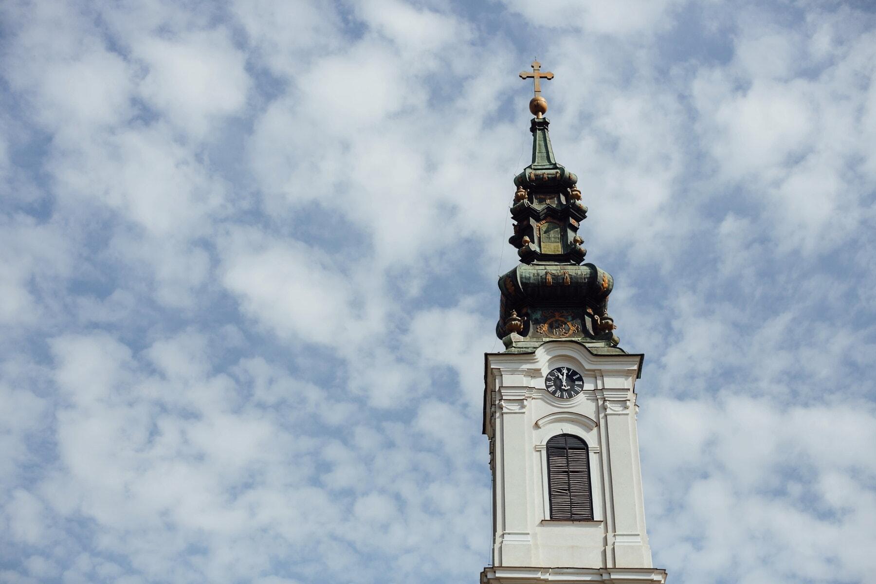 Backa Palanka orthodox church, church, tower, white, analog clock, architecture, traditional, religion, old