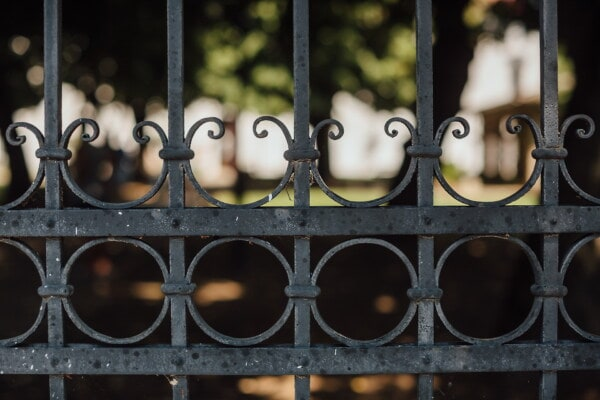 metal, iron, cast iron, artistic, craft, fence, black, vintage, gate, barrier