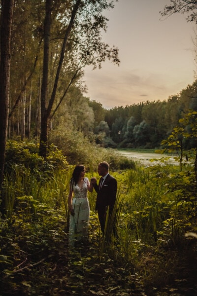 gentleman, groom, bride, lady, wilderness, swamp, tree, girl, landscape, forest