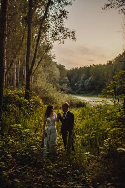Gentleman, Bräutigam, Braut, Dame, Wildnis, Sumpf, Struktur, Mädchen, Landschaft, Wald