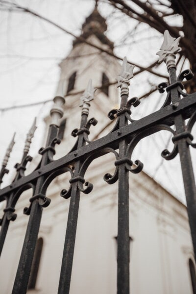 aluminum, arrowhead, arrow, fence, metal, iron, cast iron, church tower, church, old
