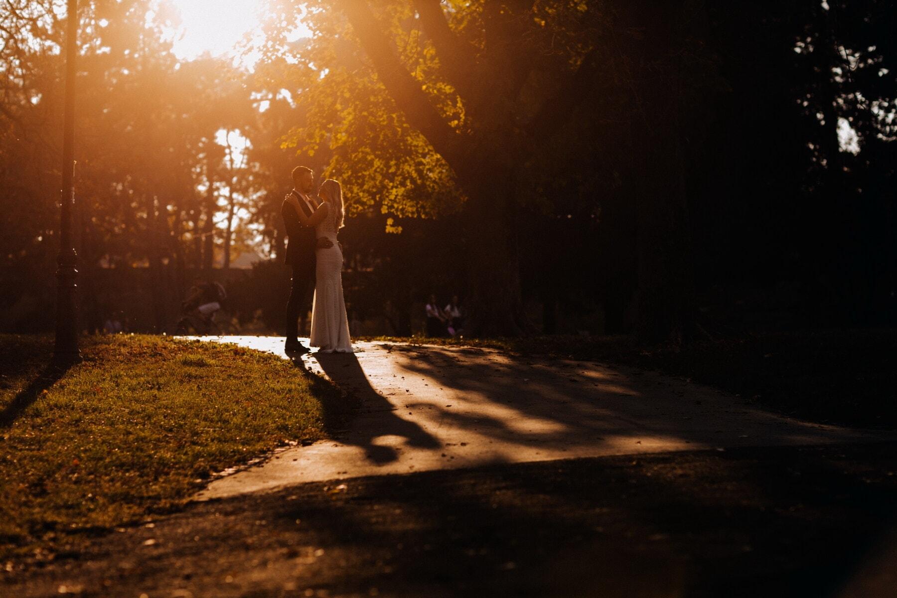 parc, coucher de soleil, gentilhomme, dame, amour, date d'amour, jeune fille, aube, soleil, gens