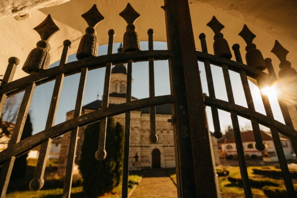 cast iron, gateway, gate, fence, sunlight, backyard, sunrays, church, building, architecture