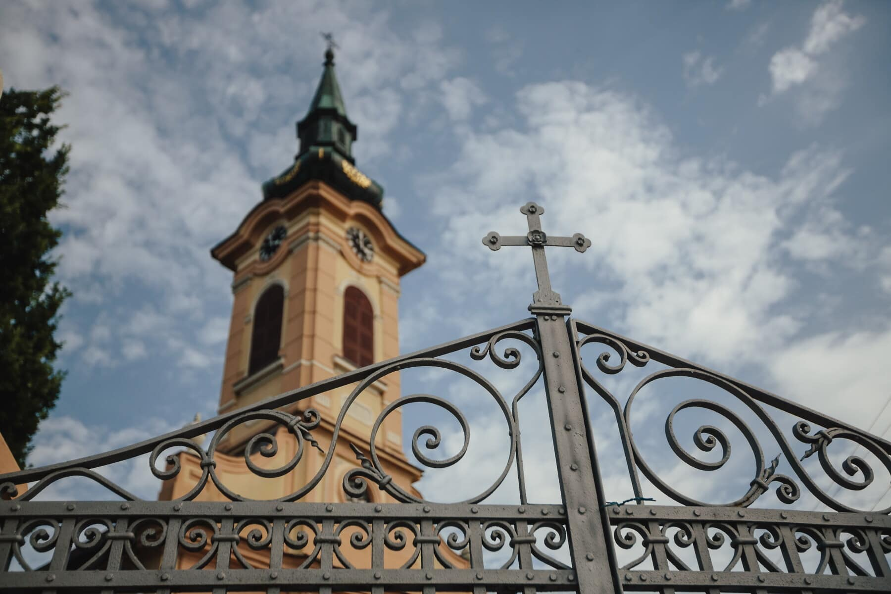 gate, fence, cross, cast iron, church tower, church, architecture, old, religion, ancient
