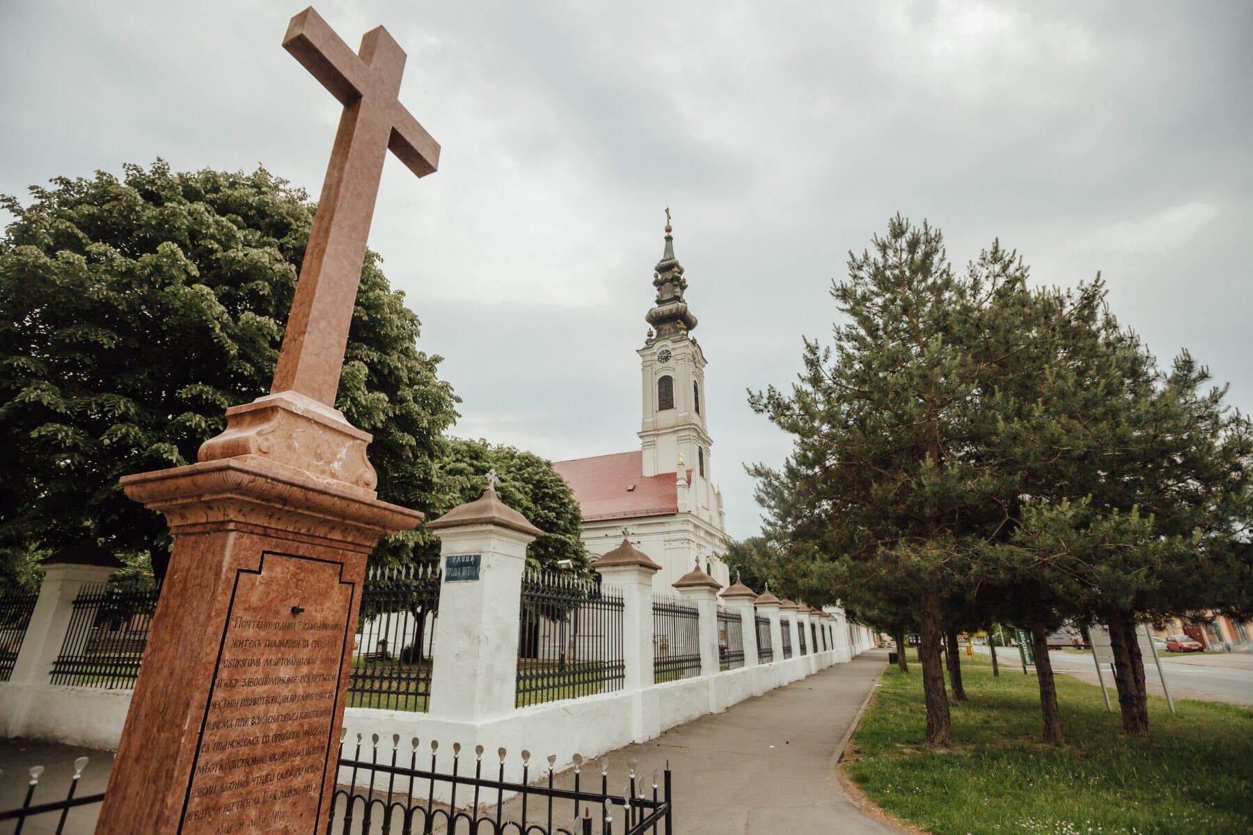 Bačka Palanka, mramor, spomen, križ, crkva, ulica, crkveni toranj, zgrada, arhitektura, toranj, groblje