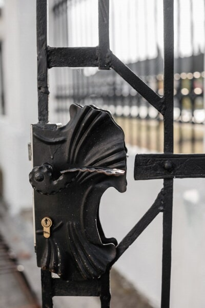 cast iron, black, keyhole, gate, metal, iron, steel, old, architecture, fence