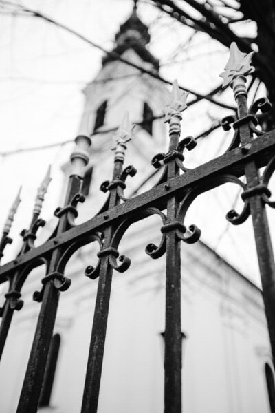 black and white, cast iron, arrowhead, fence, arrow, church tower, church, monochrome, winter, gate