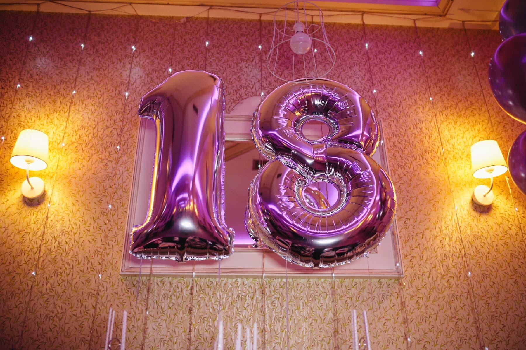 party, 18 birthday, teenage, fancy, trendy, helium, balloon, light, design, luxury