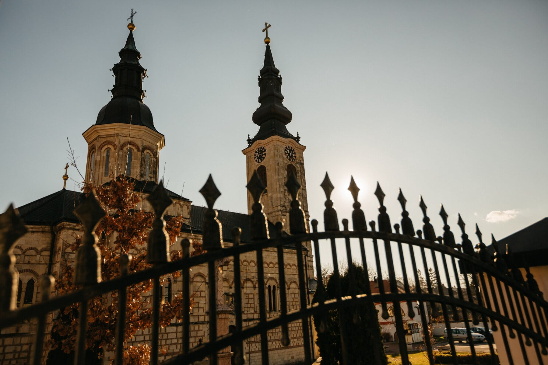 church tower, cast iron, fence, gate, gateway, church, backyard, architecture, religion, palace