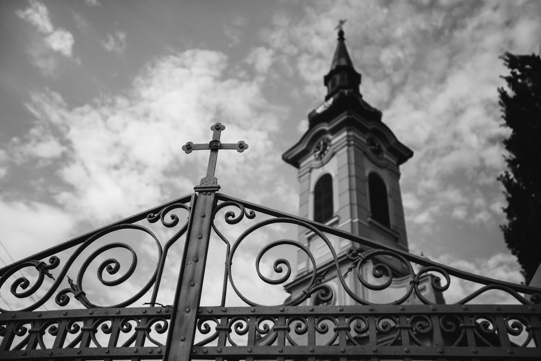 iron, cast iron, gate, metal, church tower, church, fence, religion, monastery, building