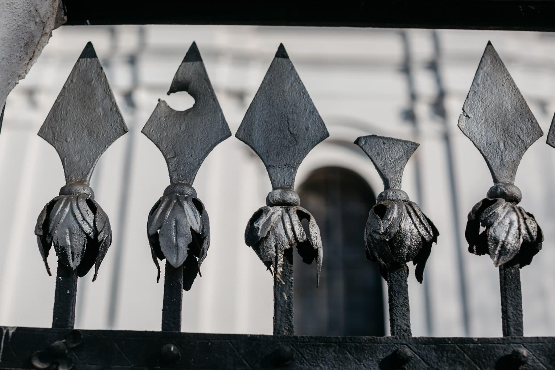 fer, fer de fonte, clôture, flèche, pointe de flèche, Metal, tranchant, vieux, en acier, art