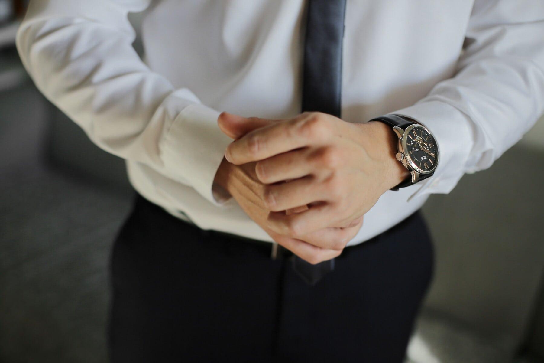 Luxus, Analoguhr, Uhr, Geschäftsmann, Smokinganzug, Armbanduhr, Manager, Hände, gut aussehend, Mann