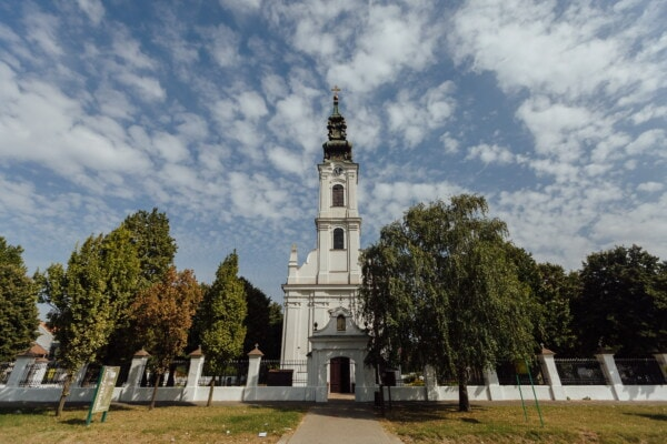 church tower, Backa Palanka orthodox church, street, walkway, tower, building, monastery, religion, architecture, cross