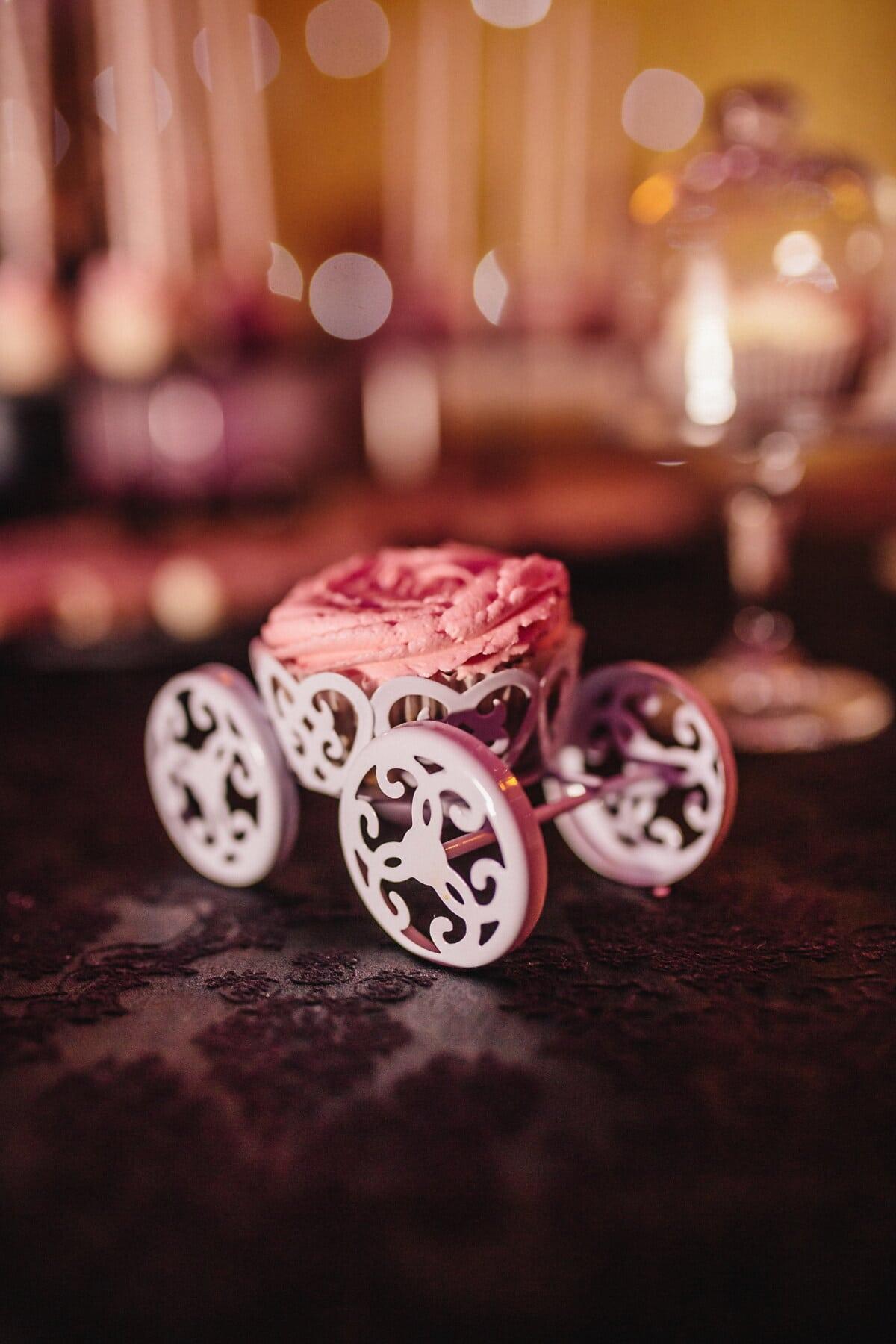 Cupcake, Geburtstag, Rosa, Dekoration, drinnen, traditionelle, Feier, Romantik, glänzend, hell