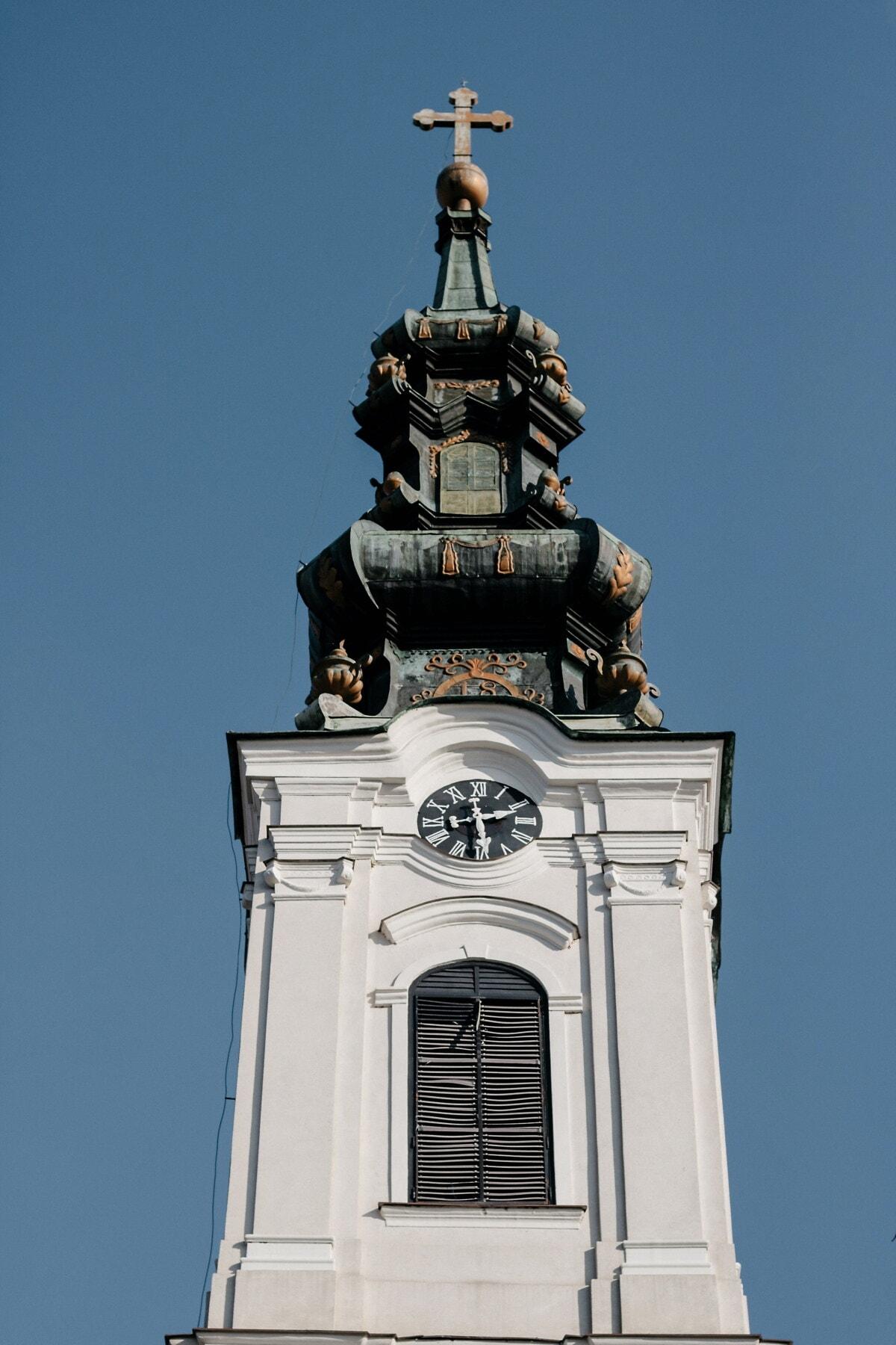 bijeli crkveni toranj, Bačka Palanka, pravoslavlje, barok, Vizantija, zgrada, arhitektura, pokrivanje, toranj, crkva