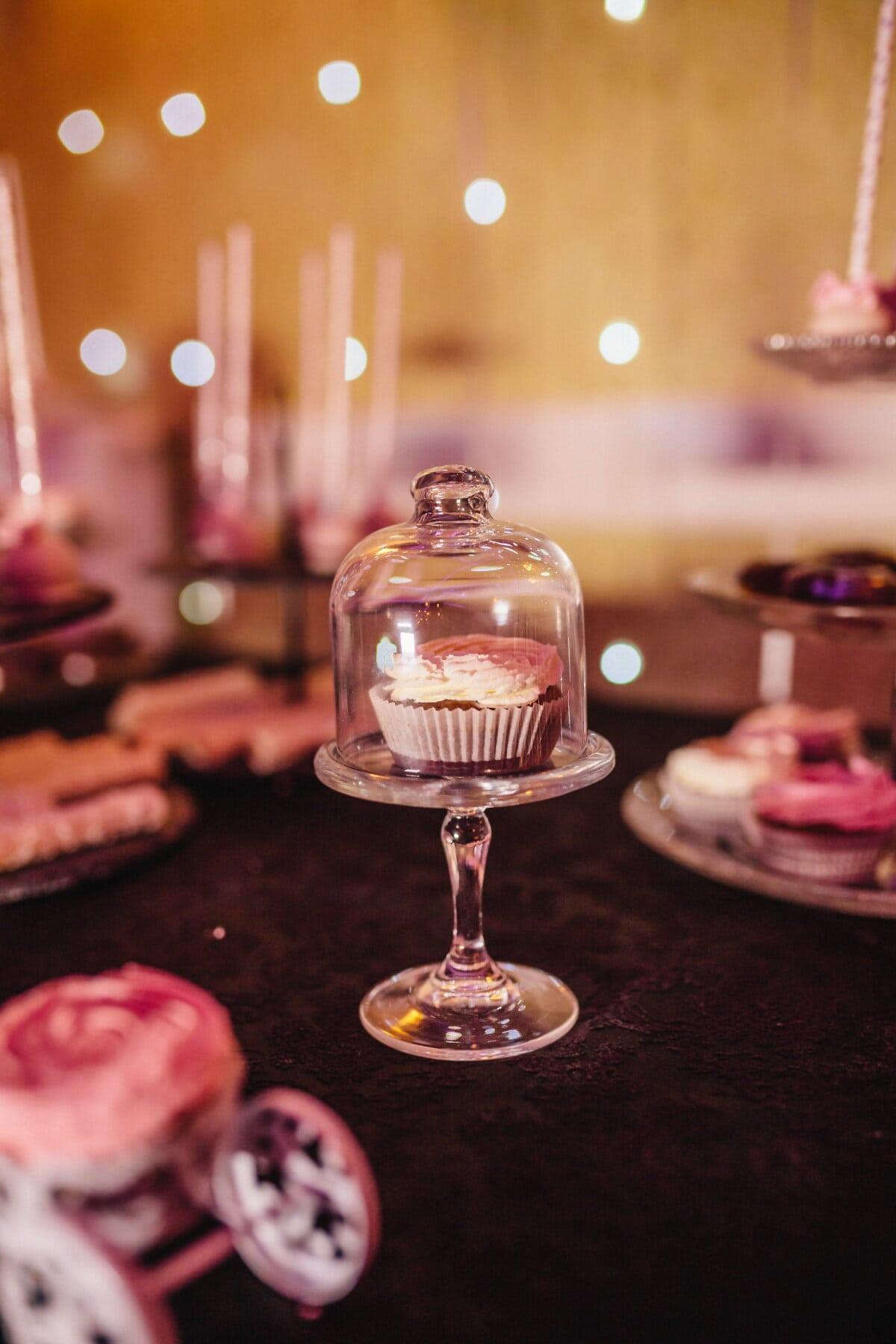 Cupcake, darunter, Glas, Kristall, Partei, Feier, Essen, drinnen, Luxus, Tabelle