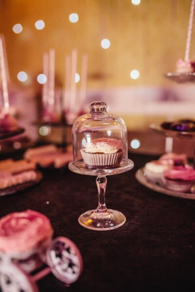 cupcake, underneath, glass, crystal, party, celebration, food, indoors, luxury, table