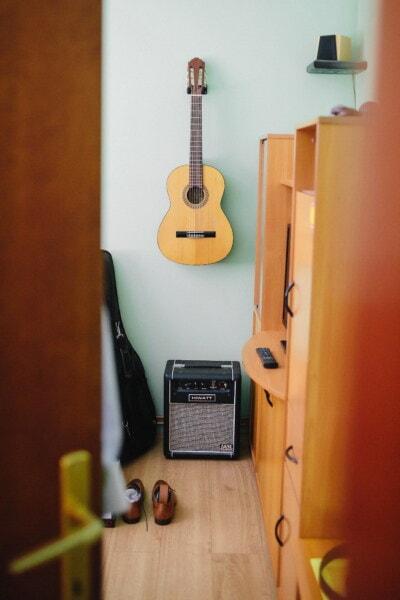 instrument, guitare, chambre, à l'intérieur, musique, meubles, son, bois, chaîne, musical