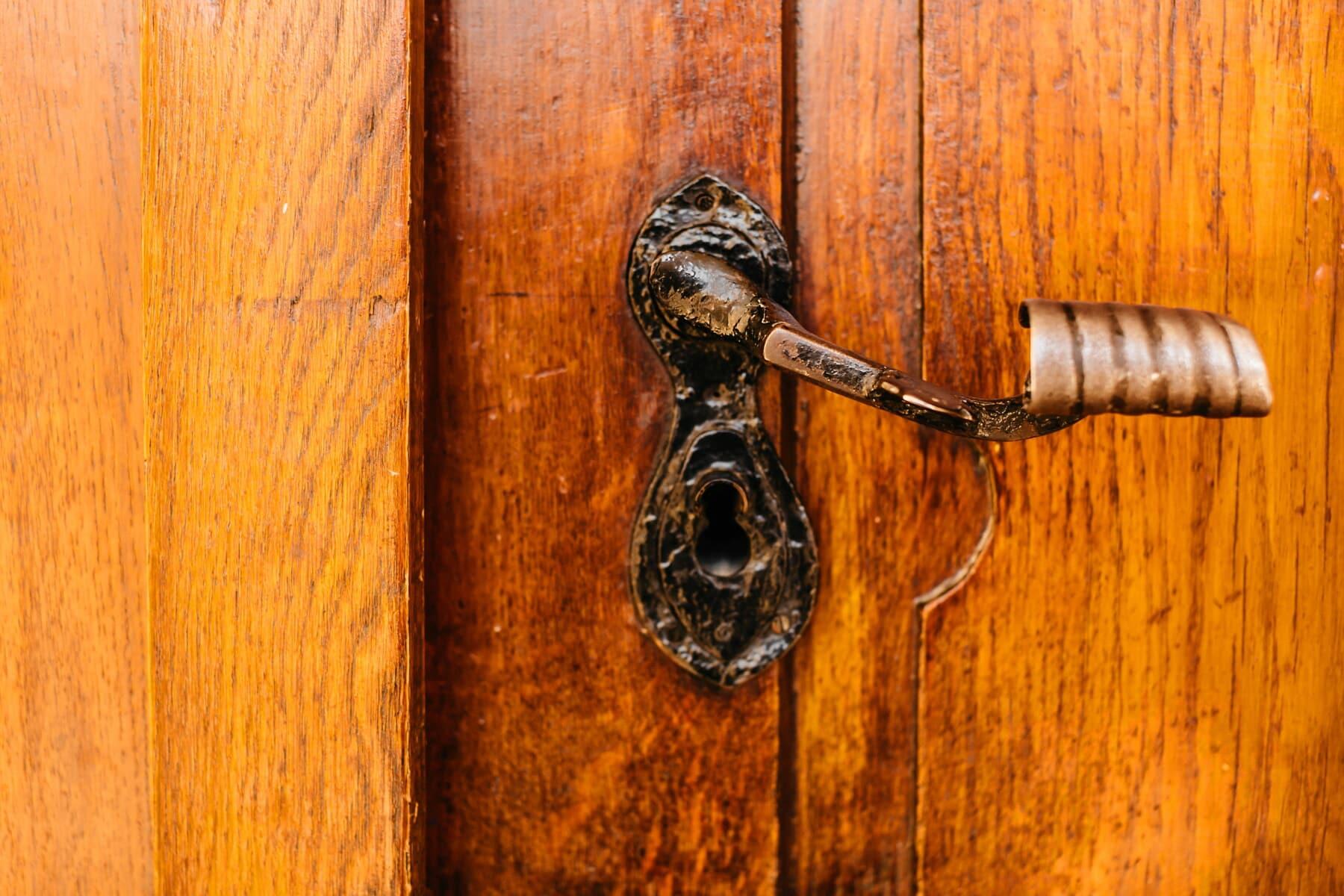 door, old fashioned, baroque, keyhole, old style, hardwood, front door, carpentry, oak, lock