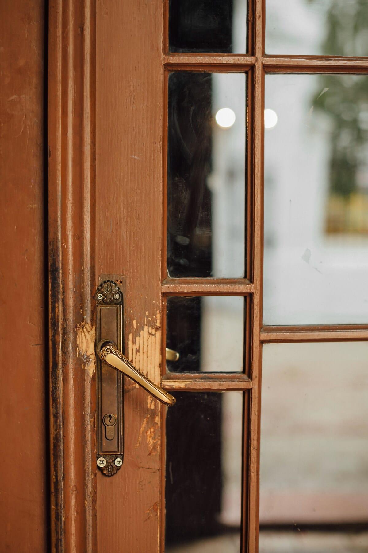 Tischlerei, fenster, vor der Tür, alten Stil, Holz, Tür, Riegel, alt, Verbindungselement, catch
