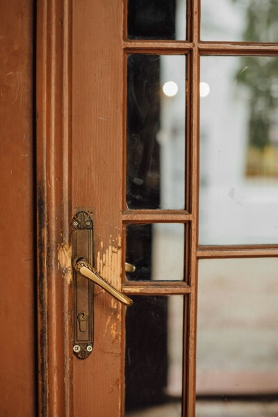 carpentry, windows, front door, old style, wood, door, latch, old, fastener, catch