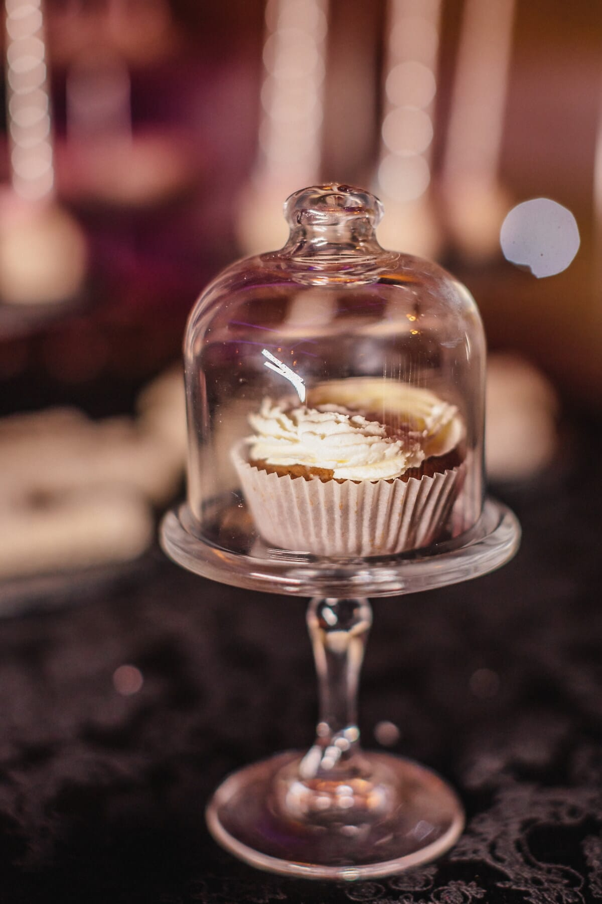 cupcake, vanilla, underneath, crystal, bell, glass, still life, indoors, candle, christmas
