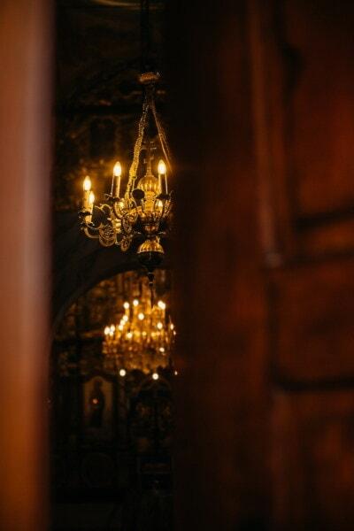 lueur dorée, orthodoxe, or, cathédrale, lustre, église, architecture, à l'intérieur, illuminé, lumière