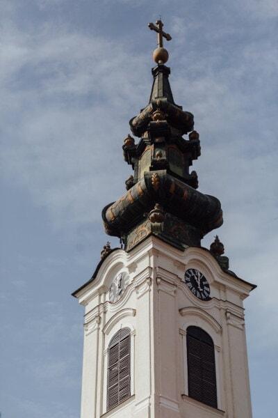 башня церков, барокко, крест, угол, медь, построение, церковь, башня, старый, архитектура