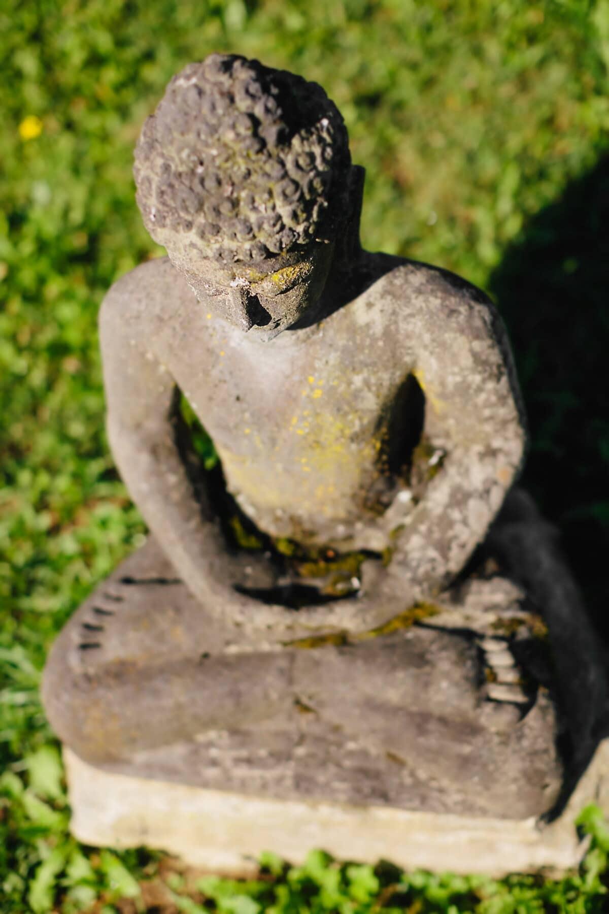 Buddhismus, Skulptur, Granit, Buddha, Meditation, Natur, Stein, Friedhof, im freien, Zen