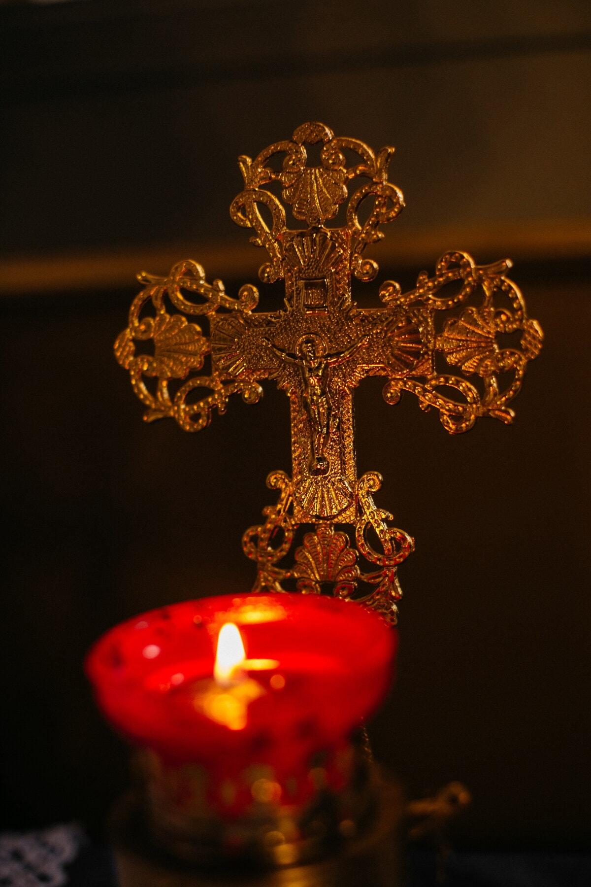 Candle-Light, Kerze, Kreuz, Religion, Christentum, Dunkelheit, Gold, Schatten, Flamme, Kunst