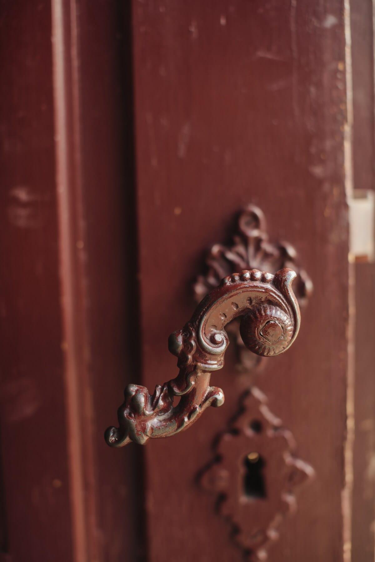 Tür, Barock, alten Stil, Verbindungselement, Tor, Riegel, Holz, Sperre, Eisen, Eingang
