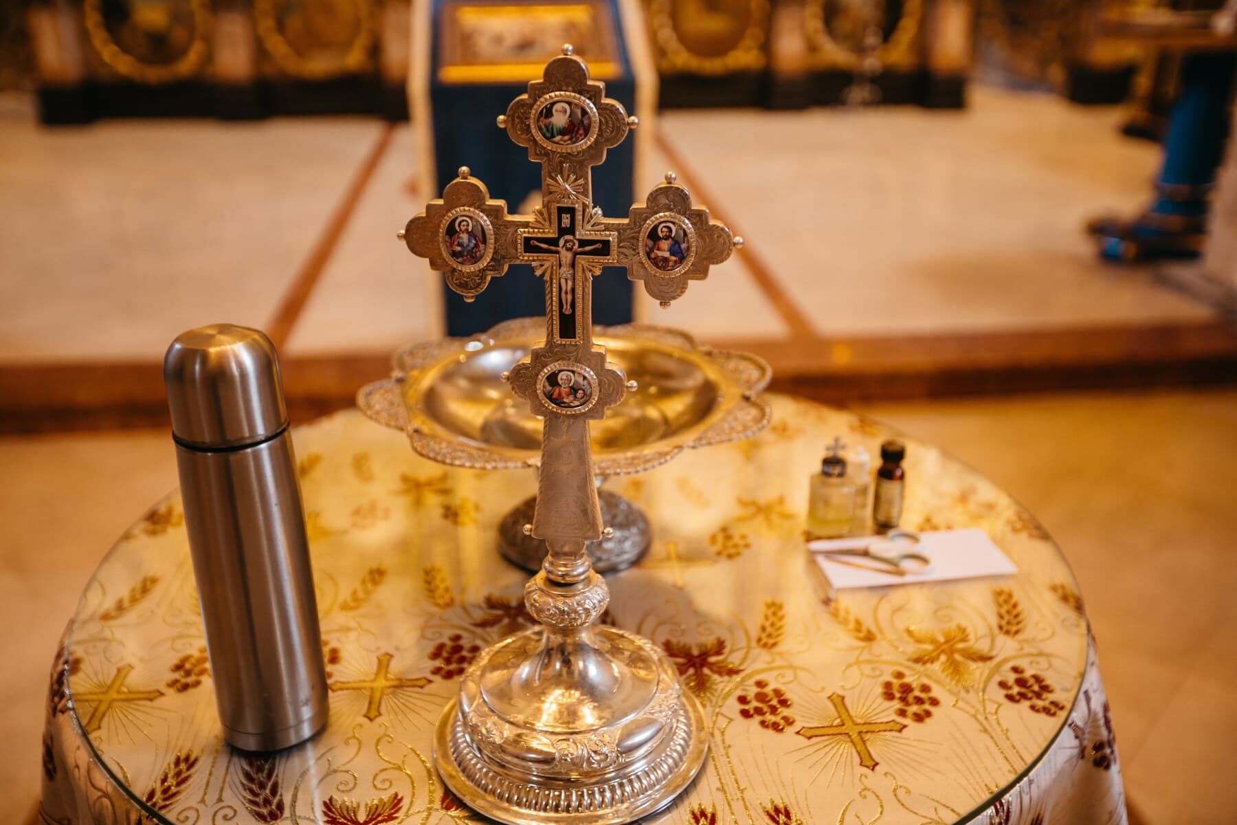 golden shine, cross, orthodox, icon, christianity, saint, Christ, indoors, table, still life