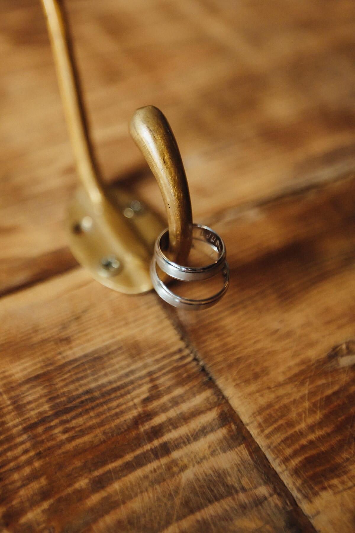 gold, rings, hook, hanger, wedding ring, hanging, wood, old, retro, vintage