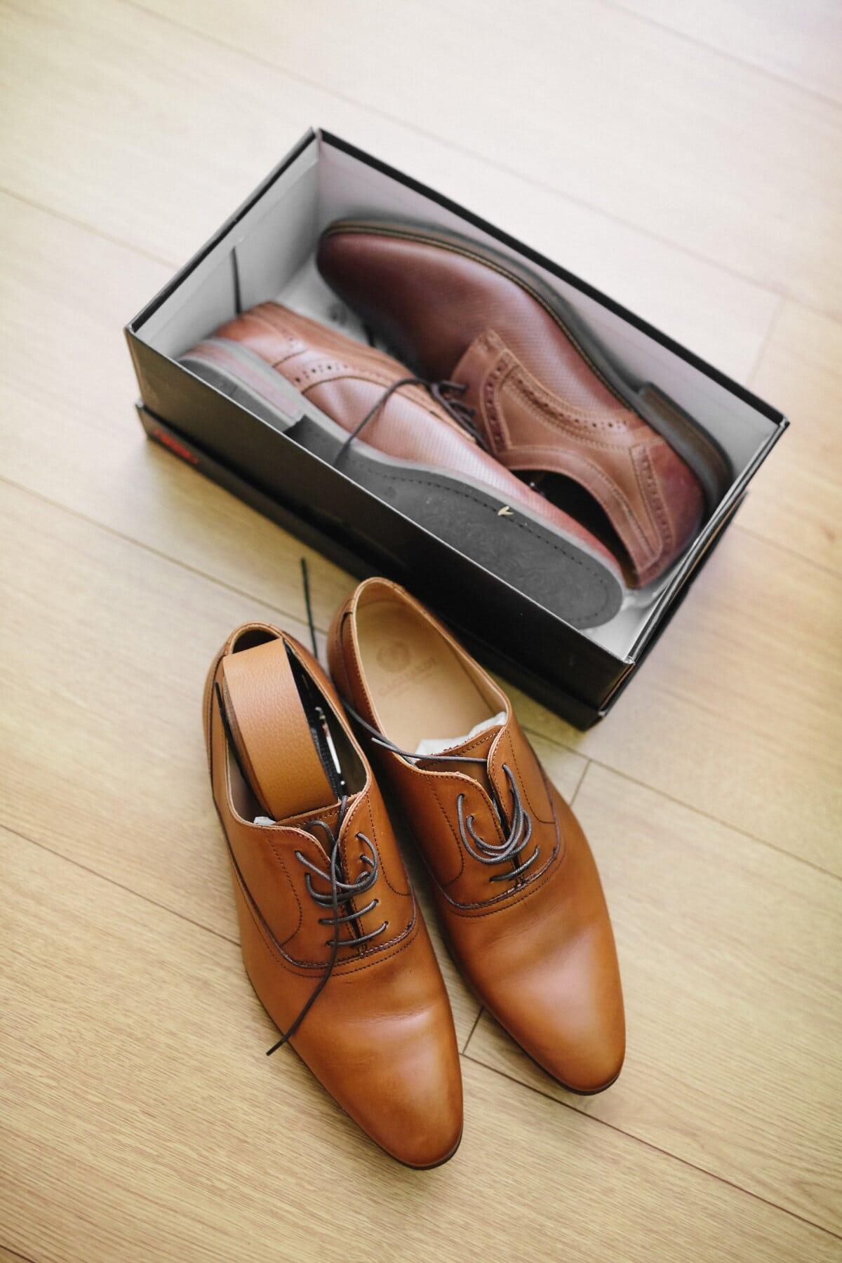 pantofi, clasic, maro deschis, moderne, cutie, fantezie, din piele, cumpărături, marfa, pachet