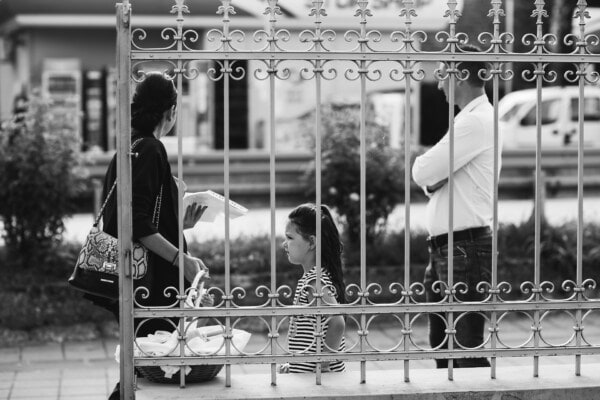 father, mother, family, daughter, monochrome, wait, people, street, man, black and white