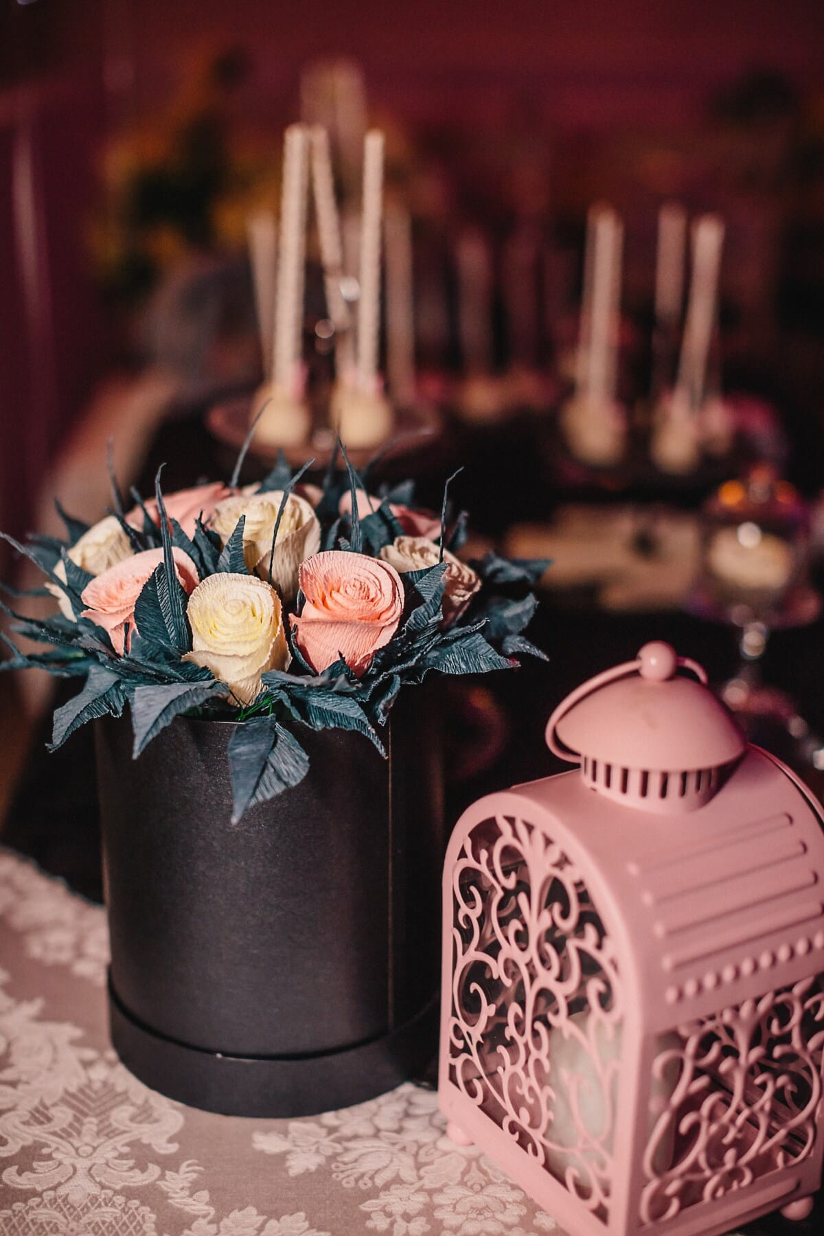 paper, roses, bouquet, still life, romantic, candlelight, interior design, wood, decoration, traditional