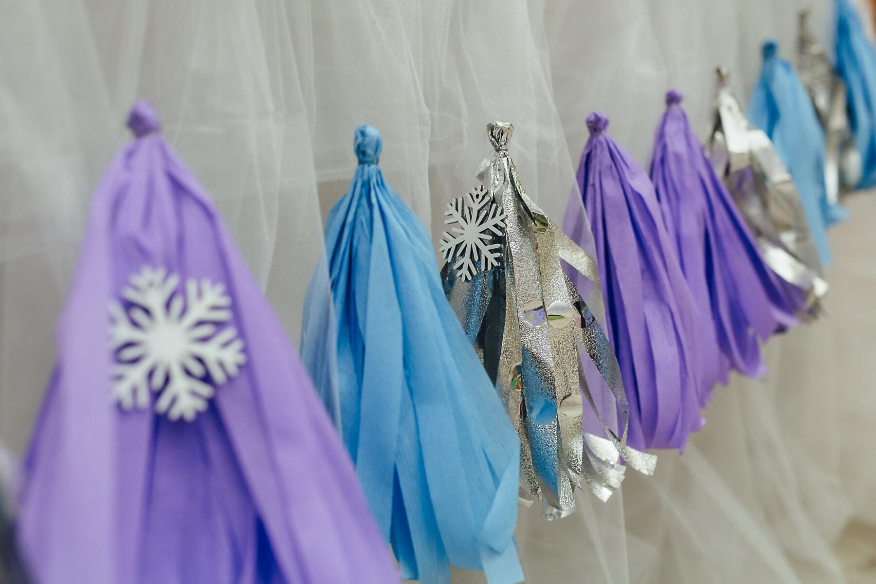 Schneeflocken, dekorative, Vorhang, elegant, hängende, Interieur-design, Mode, hell, Seide, Farbe