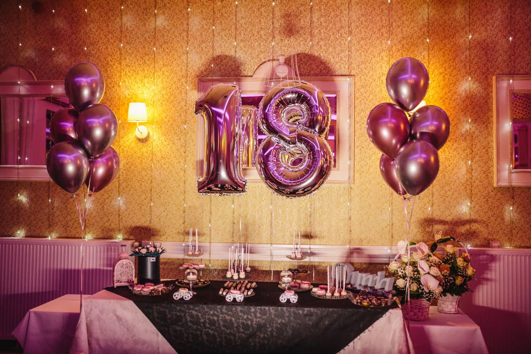 party, 18 birthday, balloon, purple, fancy, interior design, luxury, light, room, inside