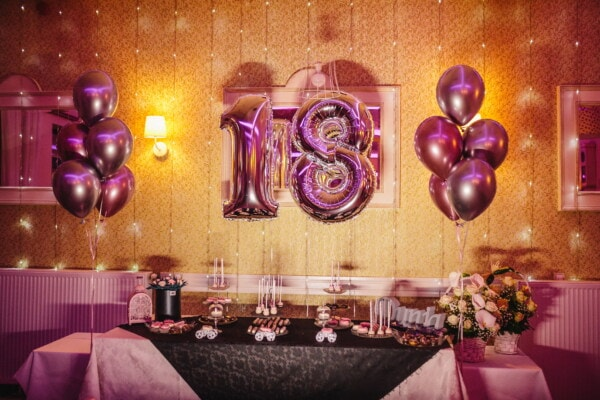 party, 18 birthday, balloon, purple, fancy, interior design, luxury, light, room, inside