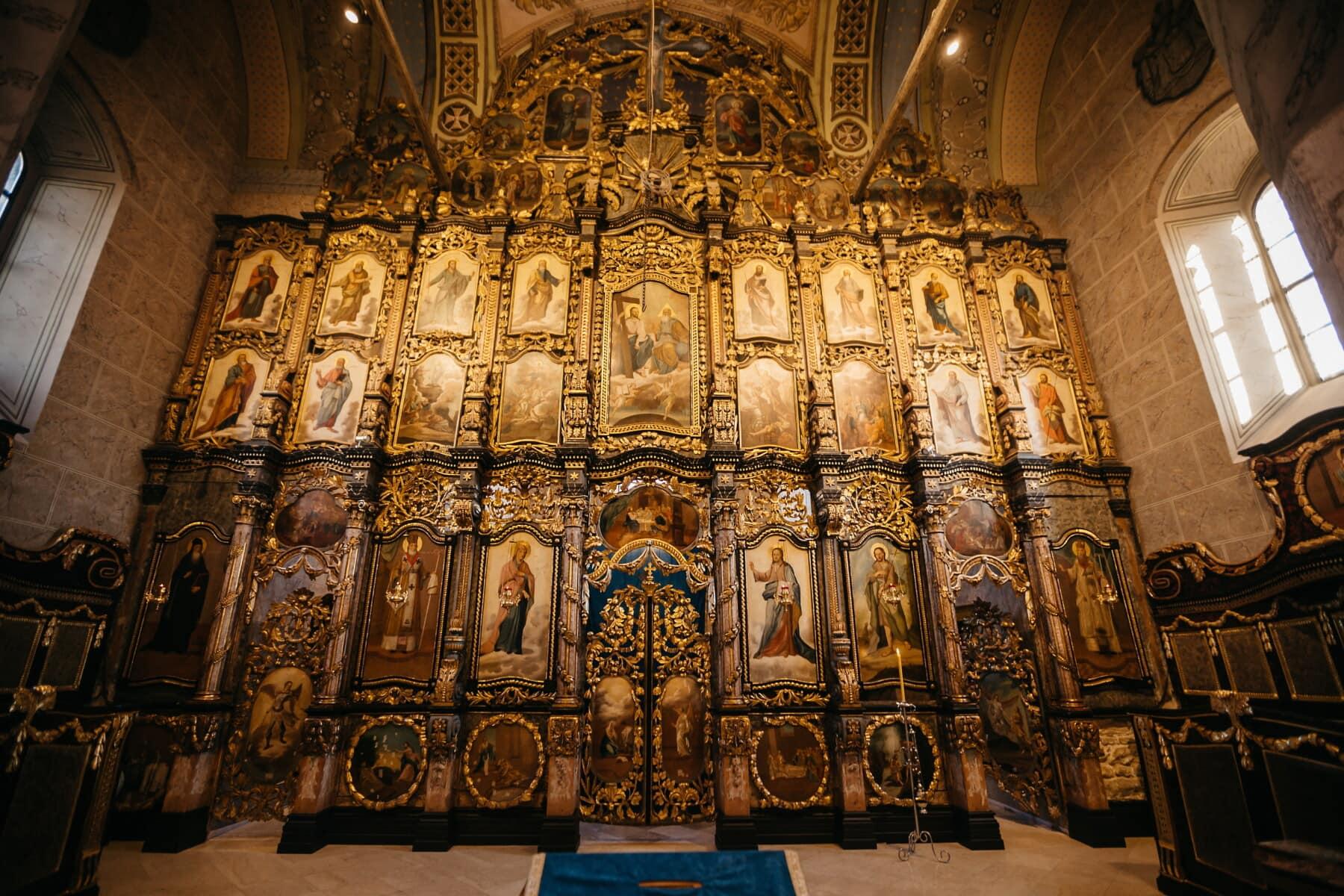 zlatni sjaj, oltar, Vizantija, pravoslavlje, crkva, ruski, Ukrajina, religija, arhitektura, struktura