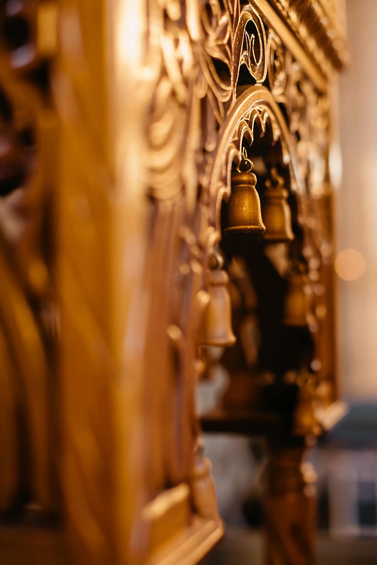 Möbel, aus Holz, Detail, Glocke, Barock, Schnitzereien, Antike, handgefertigte, drinnen, alt