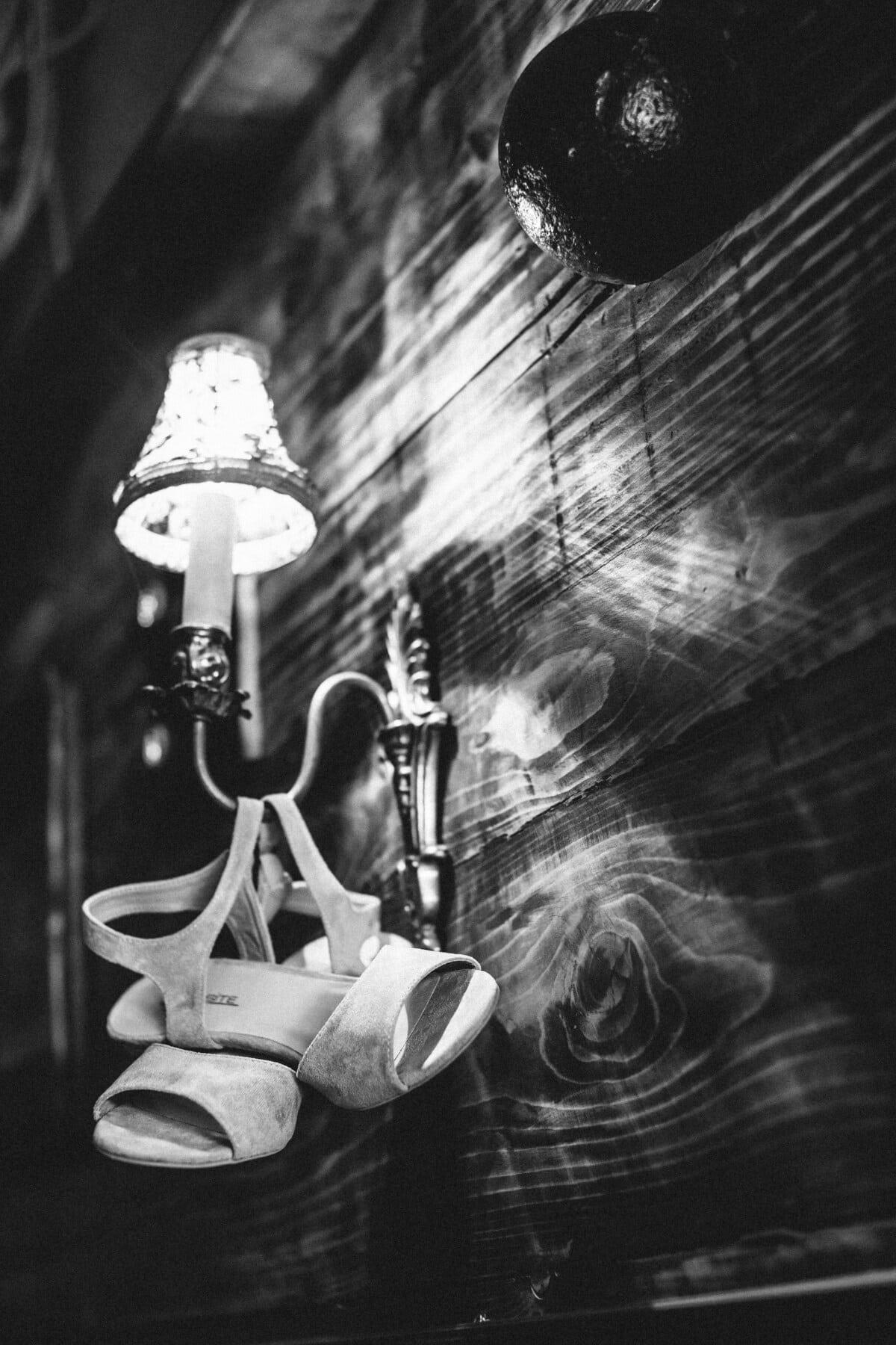 blanc, sandale, chaussures, vintage, style ancien, lumière, lanterne, monochrome, lampe, art