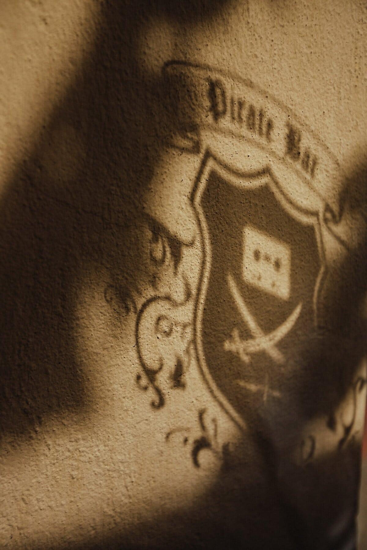 Pirat, Schatten, Zeichen, Dunkelheit, Wand, Jahrgang, Design, Retro, Kunst, dreckig