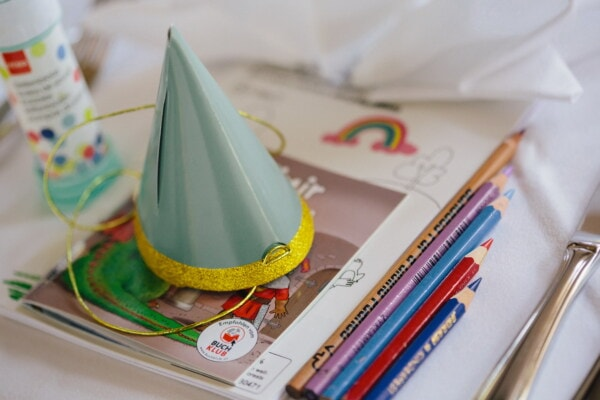 birthday, hat, notebook, cartoon, decoration, pencil, colors, paper, creativity, composition